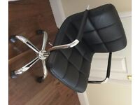 Black Faux Leather Office Chair, Excellent Condition - as new