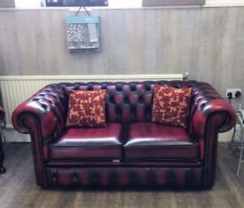 NEW 2 seater Chesterfield Sofa dark red leather SHOWROOM SALE