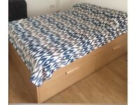 New ikea Double bed with4 big drawers + new mattress