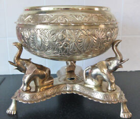 Vintage Indian Brass Bowl on Solid Brass Elephant Stand