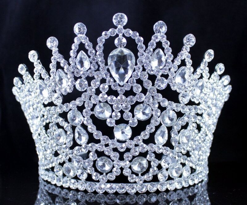 SEXY BEAUTY QUEEN CRYSTAL RHINESTONE TIARA CROWN HAIR COMBS PAGEANT T2178 SILVER
