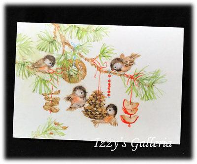 Vintage Hallmark JRM Birds Birds Pinecone Ornaments Beautiful Christmas Card