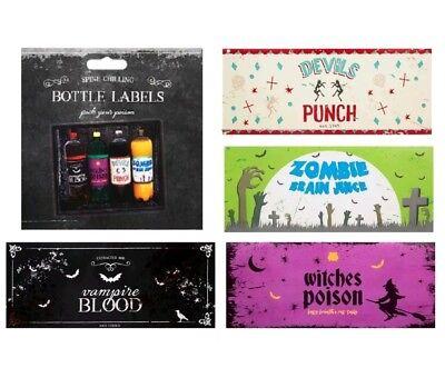 4 Halloween Bottle Labels Decoration Prop Punch POISON 2ltr Bottles Blood ](Poison Bottle Labels Halloween)