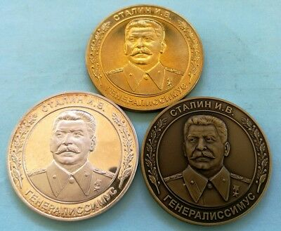 Russia 1979 - 3 Medals gold+silver+bronze 100 Anniversary of the Birth of STALIN