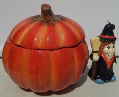 "FTD Ceramic Pumpkin 6"" Wicked Witch candle Halloween Candy Dish Cookie Jar"