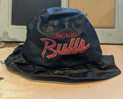 Rare Genuine Leather Chicago Bulls script spellout Bucket Hat size medium