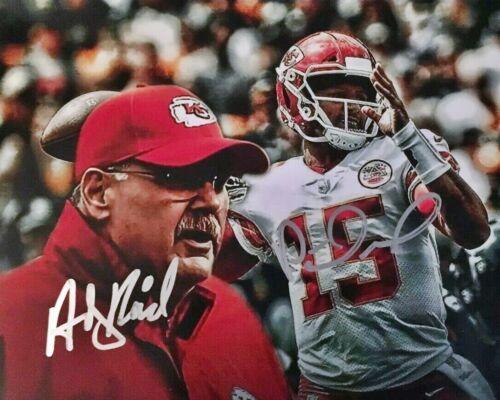 Patrick Mahomes & Andy Reid Kansas City Chiefs Signed 8x10 Autographed Photo rp