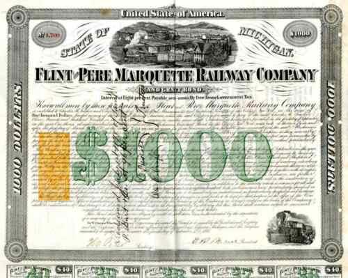 1868 Flint & Pere Marquette Railway Bond Certificate with RN-W2 revenue stamp