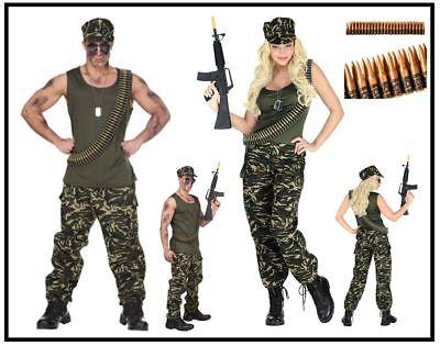Soldat Soldatin Kostüm G.I. Damen Herren Partnerkostüm Armee Army Kämpfer, (Armee Kostüme Herren)
