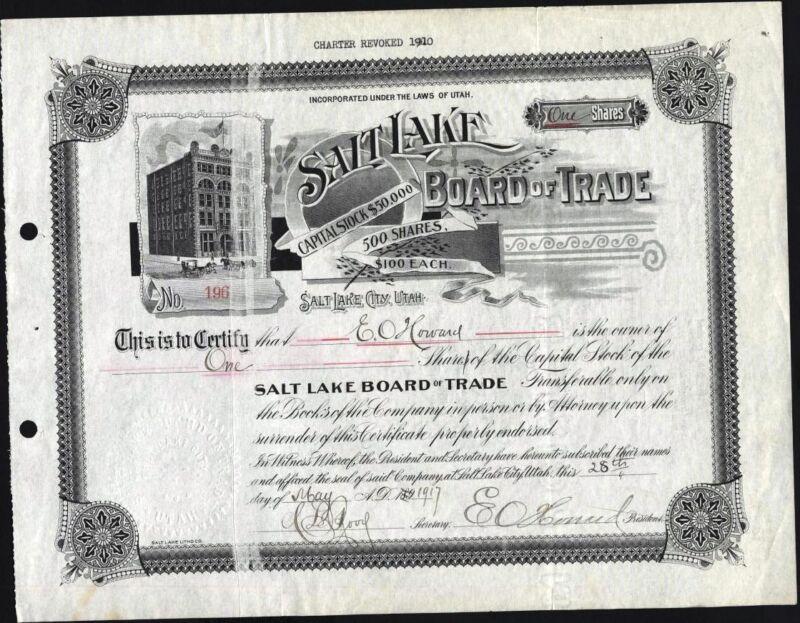 SALT LAKE BOAD OF TRADE, SALT LAKE CITY, UTAH, 1917, UNCANCELLED STOCK CFT.