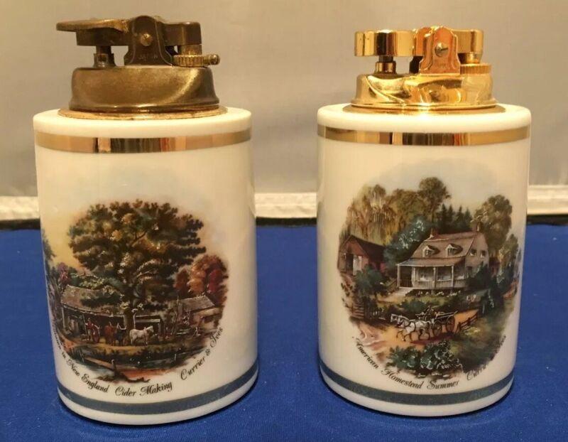 2 Vintage Currier & Ives Scene Ceramic Lighters Japan