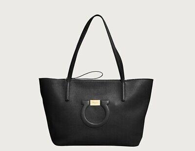 Salvatore Ferragamo Black Gancini Tote Bag Medium