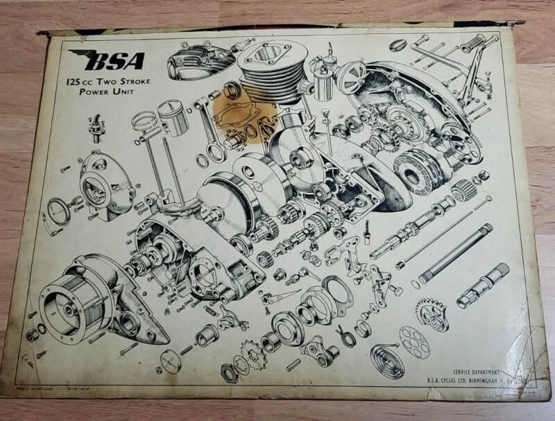 1948 BSA Motorcycle Engine Exploded Drawing Poster 125cc Two Stroke