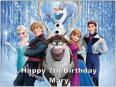 Disney Frozen Personalised Wafer Paper Topper For Large Cake Various Sizes