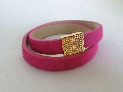NEW Rustic Cuff Pink Calfskin Double Wrap Haley Gold Magnetic Bracelet RC - Haley Double Wrap