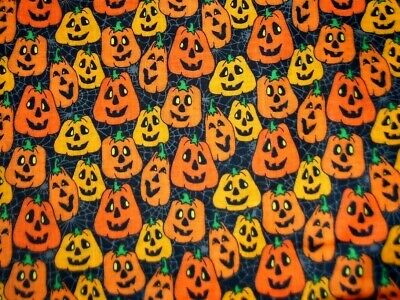 Smiling Pumpkins on Spider Web Background - 100% Cotton - By the Half Yard