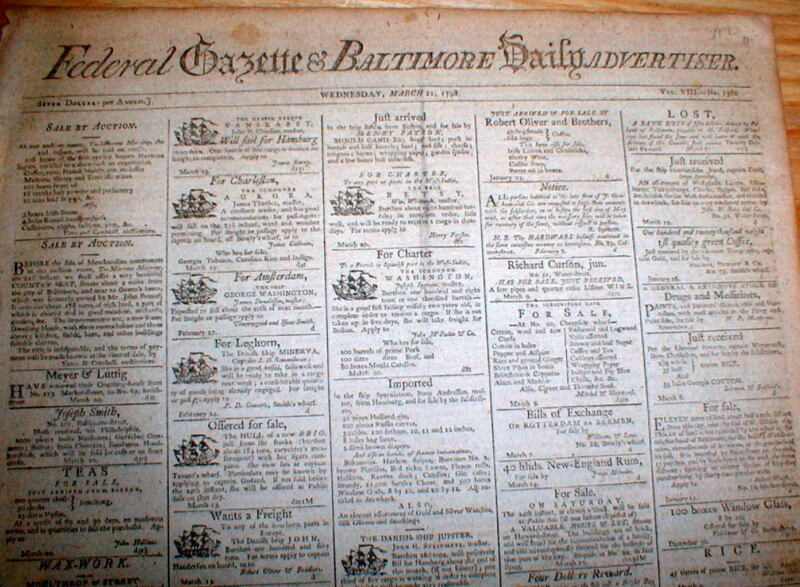 Rare original 1798 Baltimore Federal Gazette MARYLAND newspaper - 216 years old