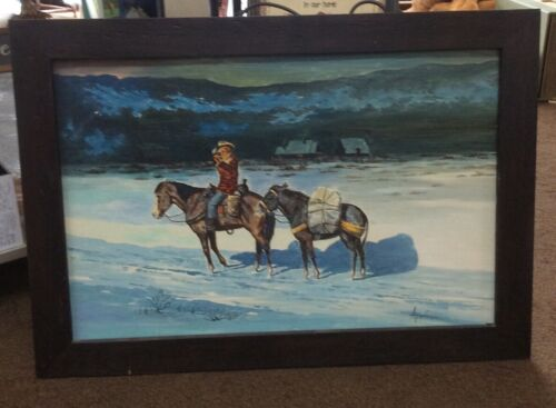 Vintage Signed Oil Painting Cowboy On Horses Winter Landscape 41 X 29  - $169.99