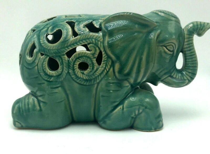 Vintage Turquoise Crackle Ceramic Glaze Elephant Figure