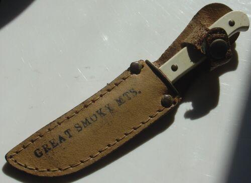 Vintage Child Boy Size USA Mini Bowie Knife Great Smoky Mountain Souvenir Sheath