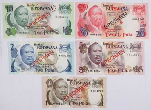 1979 Set of 5 Bank of Botswana 1, 2, 5, 10, and 20 Pula Specimen Currency Notes