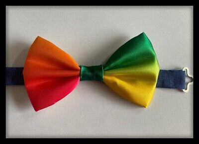 Clown Bow Tie Multicoloured Neck Necktie Costume Satin Rainbow Fabric - Clown Bow