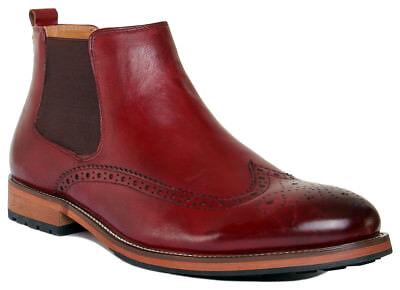 Justin Reece Barton Men Leather Matt Wine Ankle Boots Size UK 6 -12