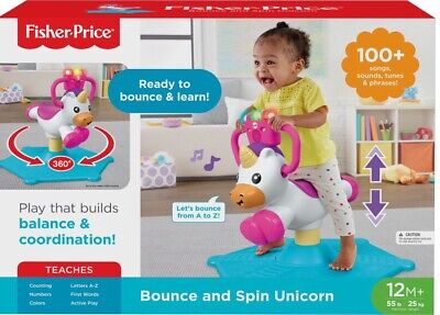 Fisher-Price Bounce and Spin Unicorn 12M+ NEW