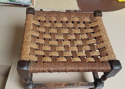 Vintage Boho Woven Rush Wicker Rattan Seagrass Foot Stool Plant Stand