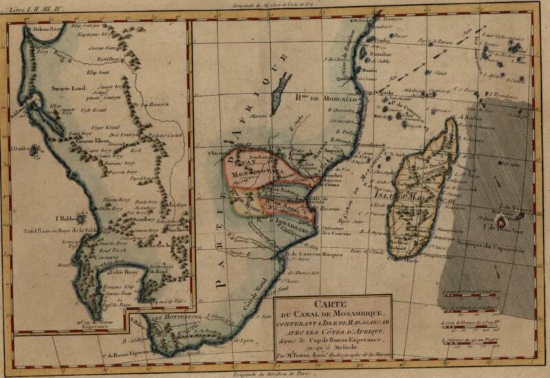 Southeast Africa Madagascar Mozambique c.1780 Monomotapa Table Bay Good Hope map