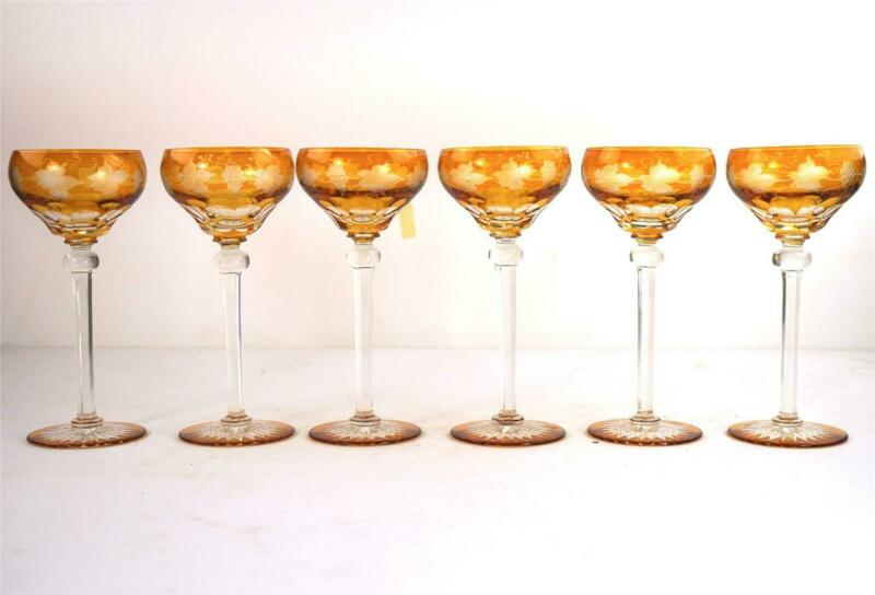 SET OF SIX BOHEMIAN AMBER CUT TO CLEAR HOCK WINE GLASSES ENGRAVED GRAPE VINE