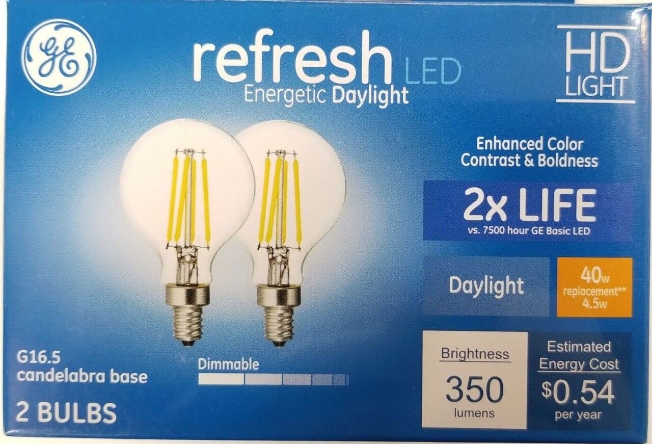 GE Refresh 2-Pack 40w watt Equivalent Dimmable Daylight G16.