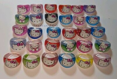 Hello Kitty Goody Bags (12 X Hello Kitty Style Rings Birthday Party Bag Fillers, Goody Bag)