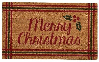 Merry Christmas Coir Doormat by Park Designs - Holly Vinyl Backing Outdoor