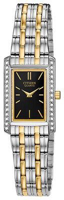 Citizen Women's Quartz Crystal Accent Two-Tone Black Dial 19mm Watch EK1124-54E