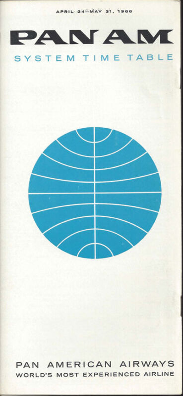 Pan Am system timetable 4/24/66 [0098]