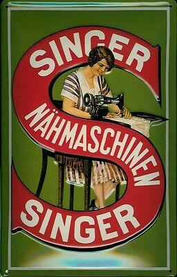 Blechschild Nostalgieschild Singer Nähmaschinen Frau S grün 20x30 cm
