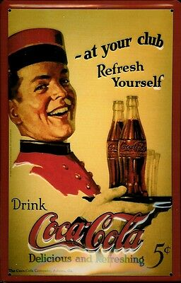 Blechschild Coca Cola at your Club Schild Werbeschild Nostalgieschild 20x30 Soft
