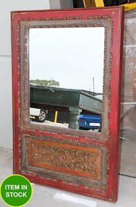 Handcarved antique wall mirror frame wooden timber bathroom indian carved dmaged