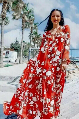 Johanna Ortiz H&M HM Red Voluminous satin dress SIZE M Bnwt