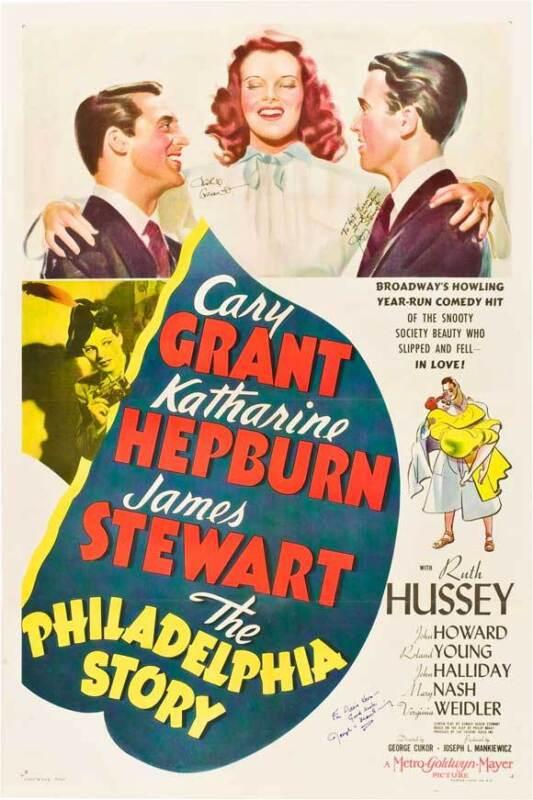 THE PHILADELPHIA STORY Movie POSTER 27x40 B Katharine Hepburn Cary Grant James