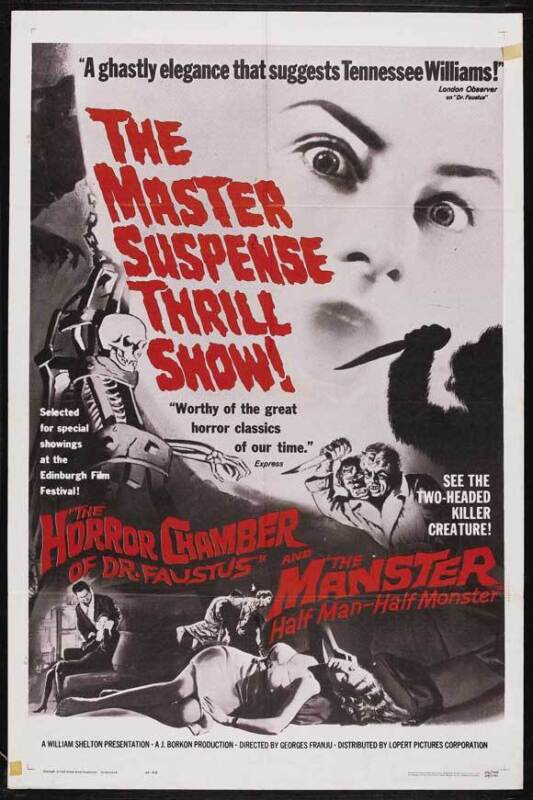 THE HORROR CHAMBER OF DR. FAUSTUS Movie POSTER 27x40 B Alida Valli Pierre