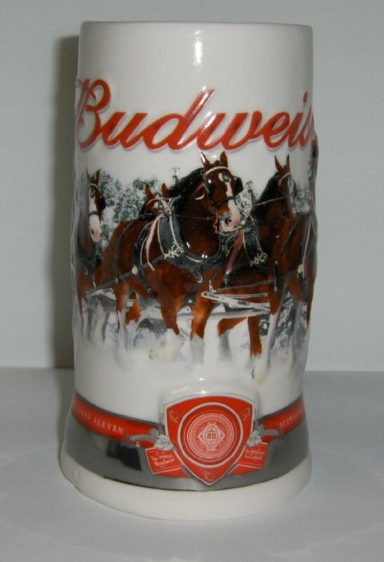 2011 Budweiser Holiday Mug - Christmas Beer Stein  issued 8 Holiday Seasons ago