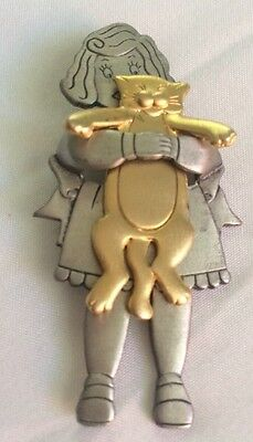 Vintage Jj Girl With Cat Brooch Kitty Pin Mixed Metals