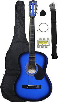 NEW Crescent beginner BLUE Acoustic Guitar+GIGBAG+STRAP+TUNER+LESSON