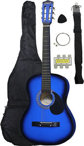NEW Crescent beginner BLUE Acoustic Guitar+GIGBAG+STRAP+TUNER+LESSON