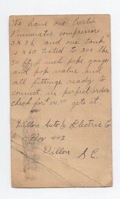 Dillon Auto & Electric Company Post Card  Note   MT Clinton Virginia VA 1920's