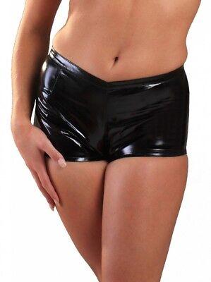 Black PVC Vinyl Fetish Hot Pants with Back Zipper, Size M (UK 12) - Vinyl Hot Pants