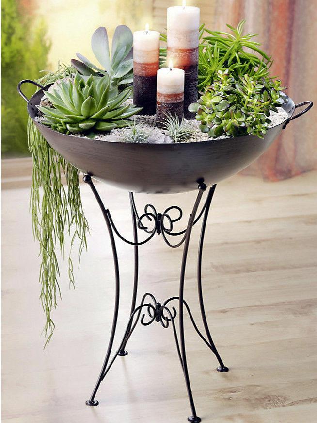 Pflanzenschale mit Ständer Dekoschale Schale Pflanzschale Shabby Chic Metall