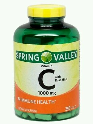 Spring Valley Vitamin C 1000Mg Rose Hips Immune Health Supplement 250 Tabs